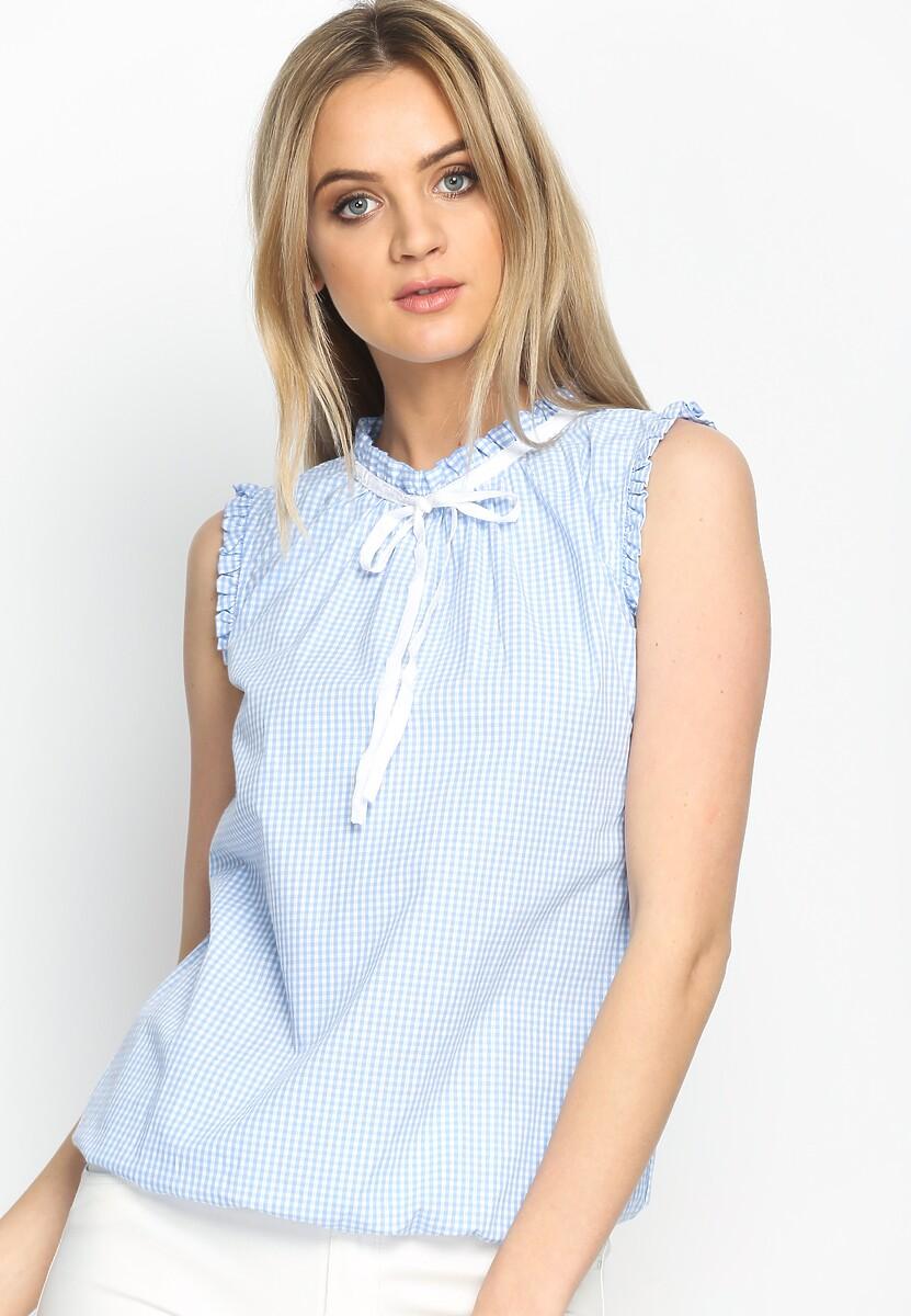 Niebieska Bluzka Furbelow Sleeve