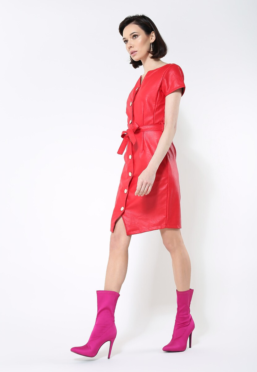 Czerwona Sukienka Waistband