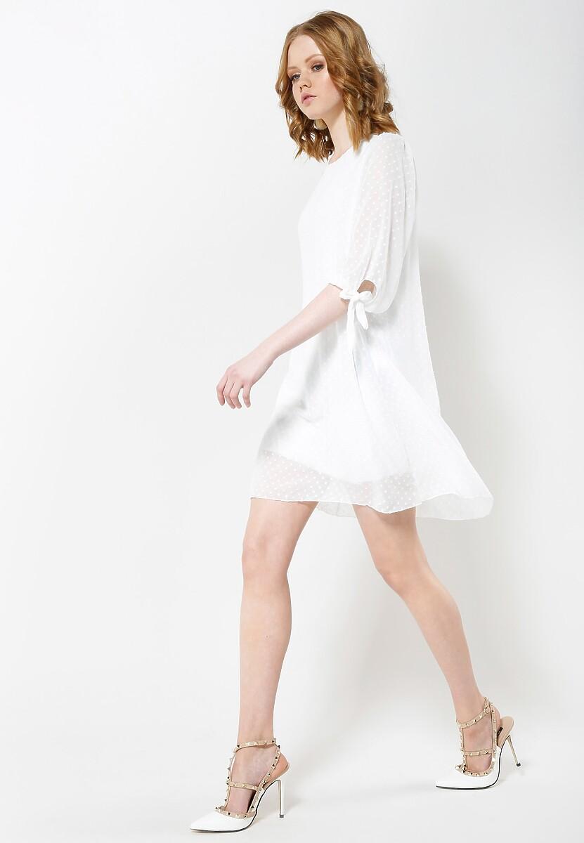 Biała Sukienka Ribbons On Sleeve