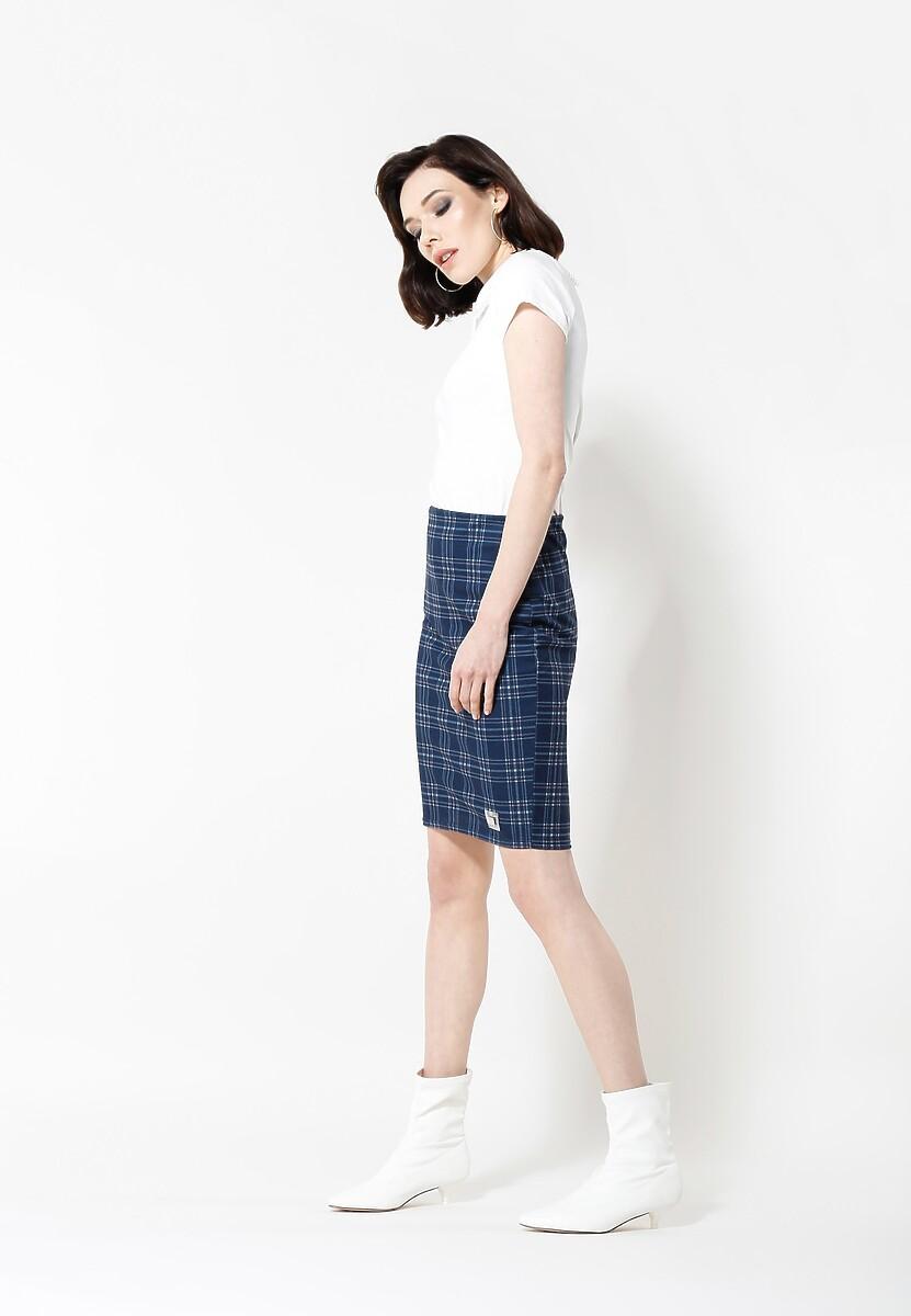 Ciemnoniebieska Spódnica Checked Look