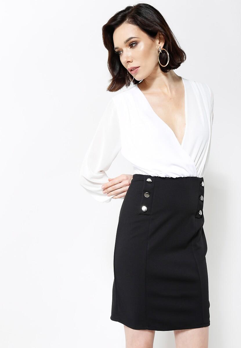 Beżowo-Czarna Sukienka Seductive Back