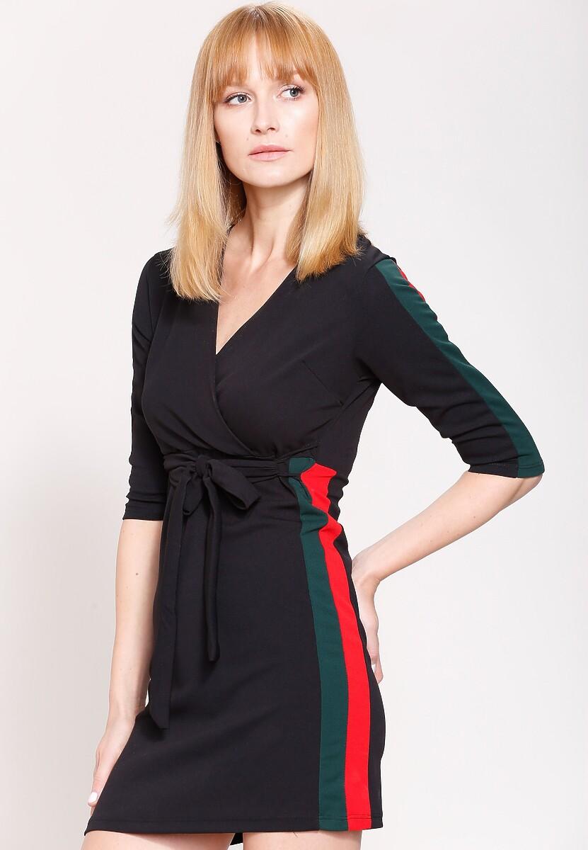 Czarno-Zielona Sukienka White Stripes