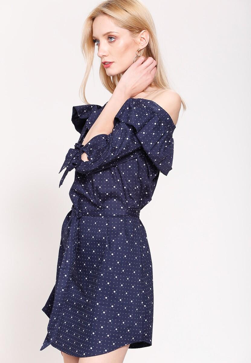 Granatowa Sukienka Flamenco Dots