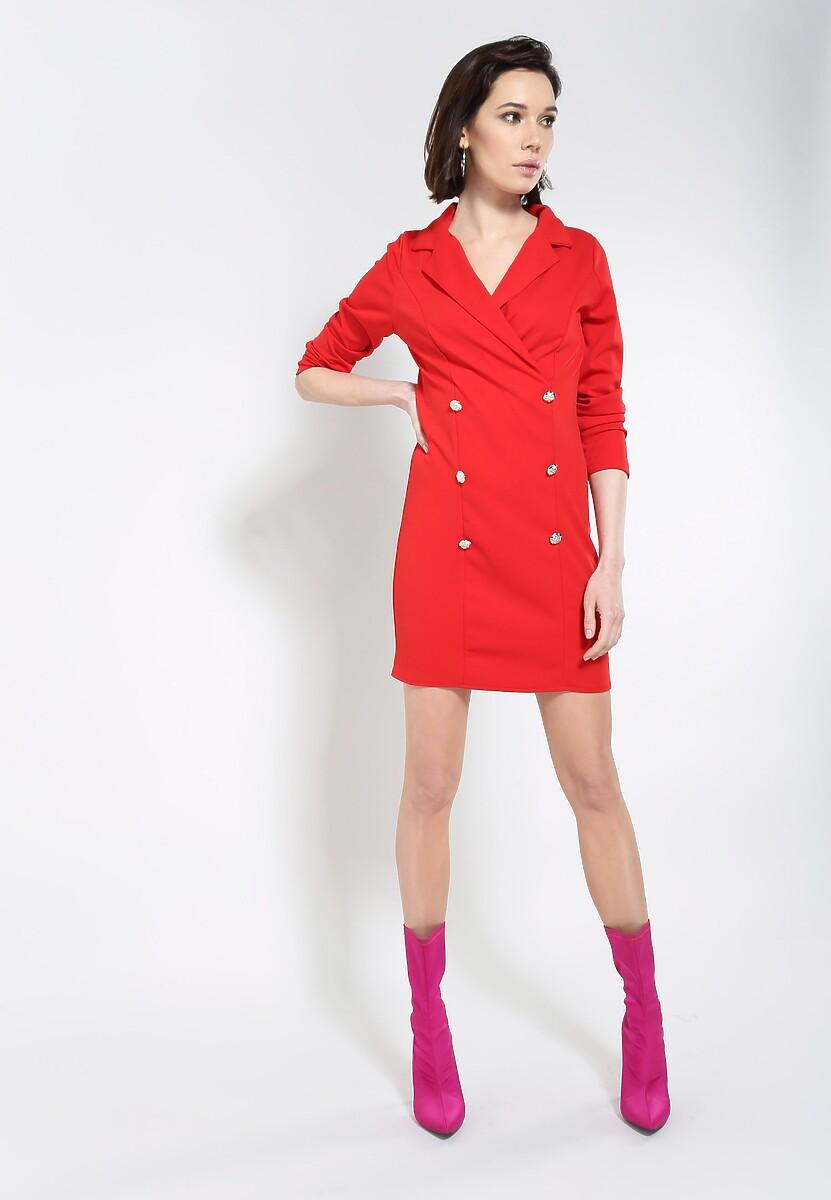 Czerwona Sukienka Unclassic Tuxedo