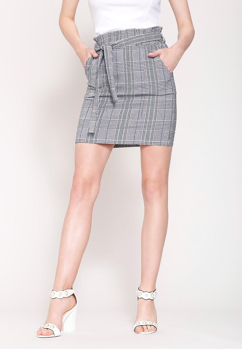 Szaro-Niebieska Spódnica Mini Smith