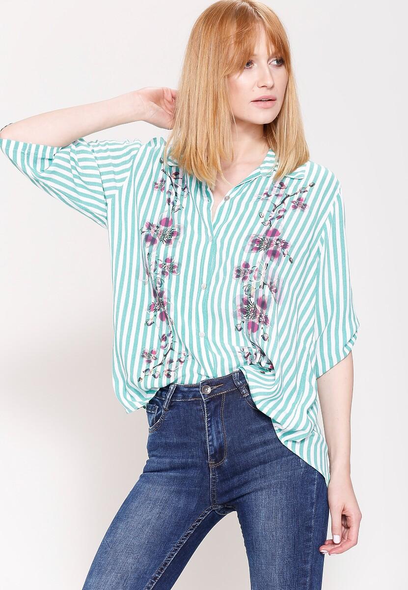 Zielona Koszula Flowers On Stripes
