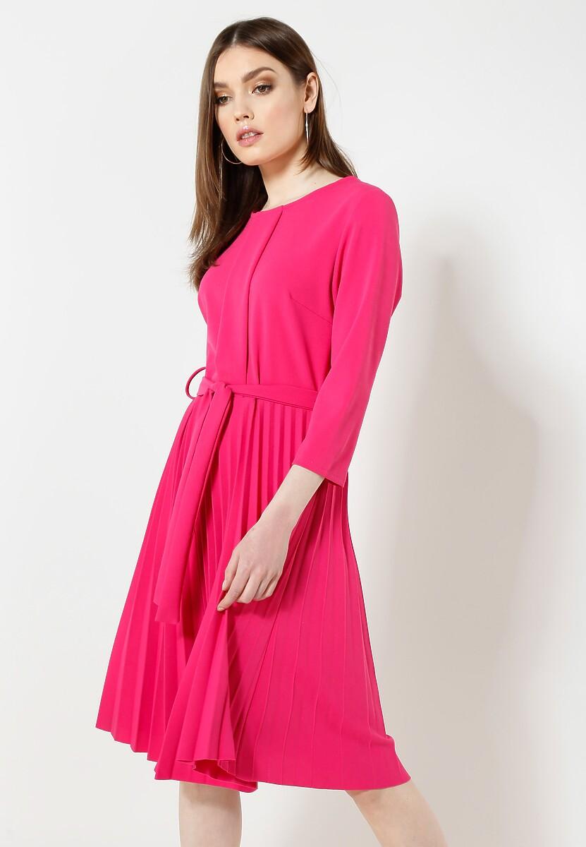 Fuksjowa Sukienka Pleated Belted