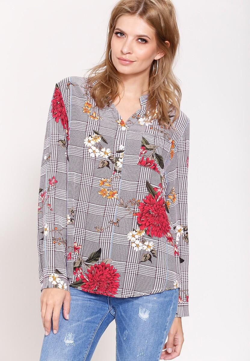 Bordowa Bluzka  Flowers Lines