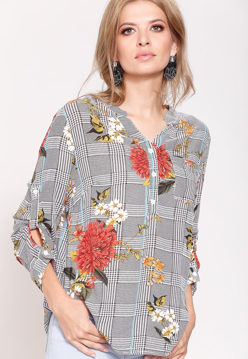 Pomarańczowo-Brązowa Bluzka Flowers Lines