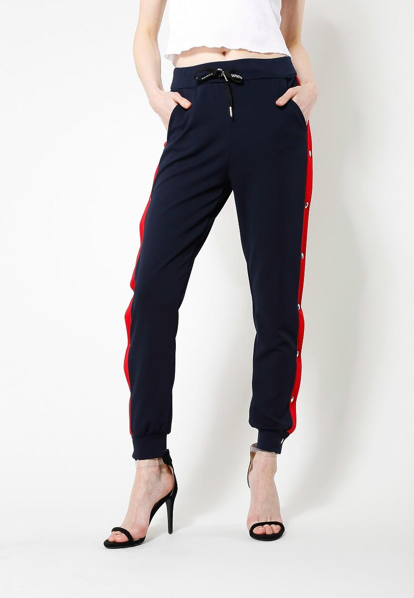 Granatowe Spodnie Dresowe Long Way