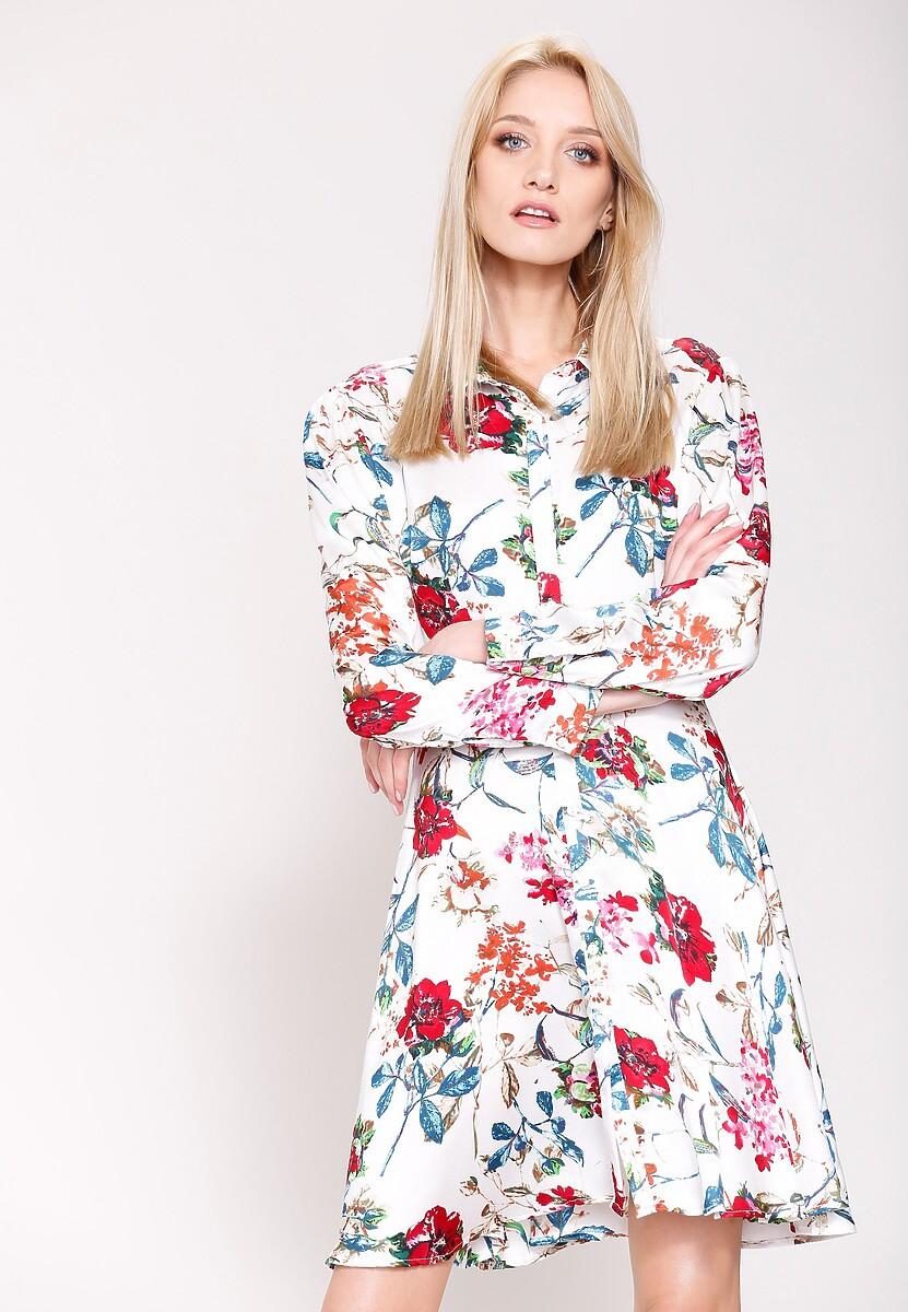 Biało-Czerwona Sukienka Princes Lily