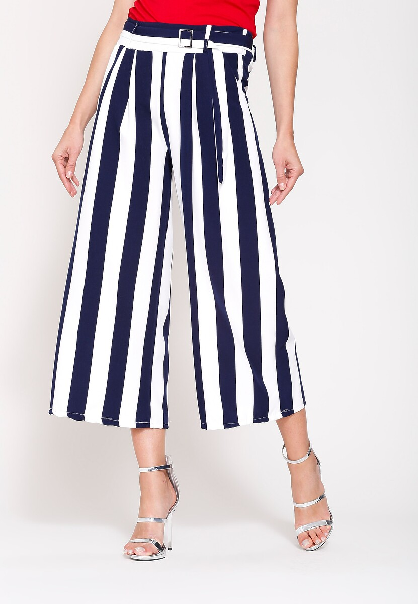 Granatowe Spodnie Linear Stripes
