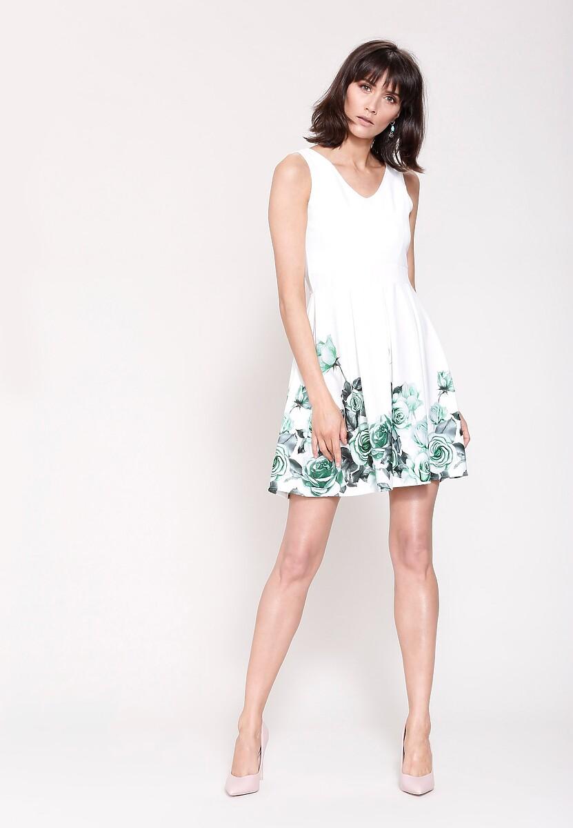 Biało-Zielona Sukienka Cascade