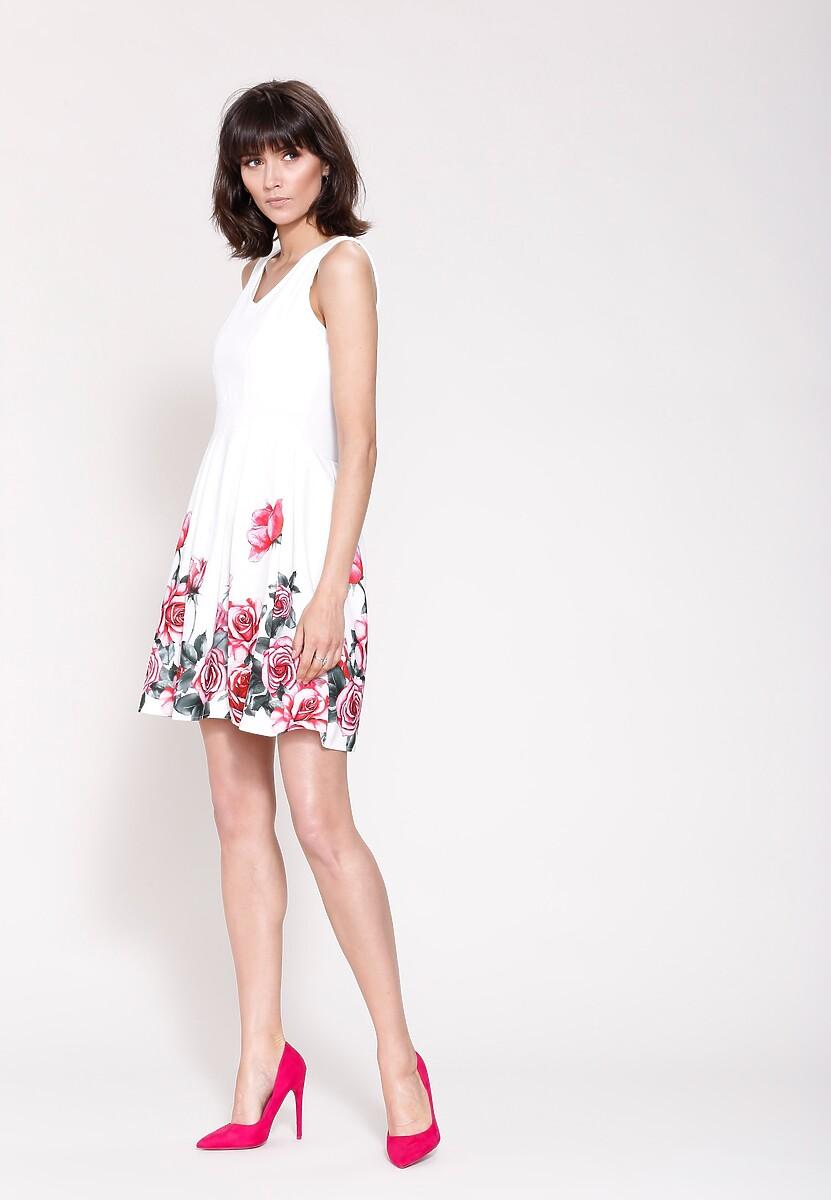 Biało-Czerwona Sukienka Cascade