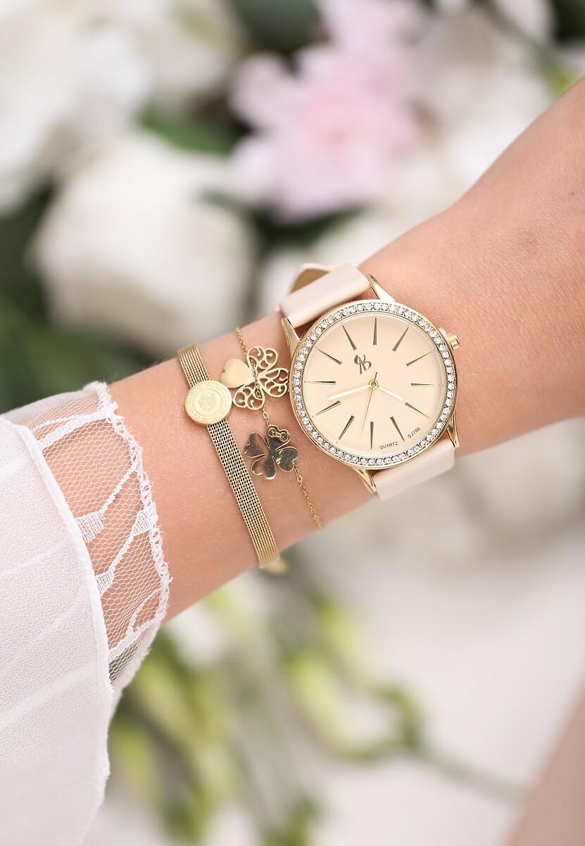 Beżowo-Złoty Zegarek I Have Us