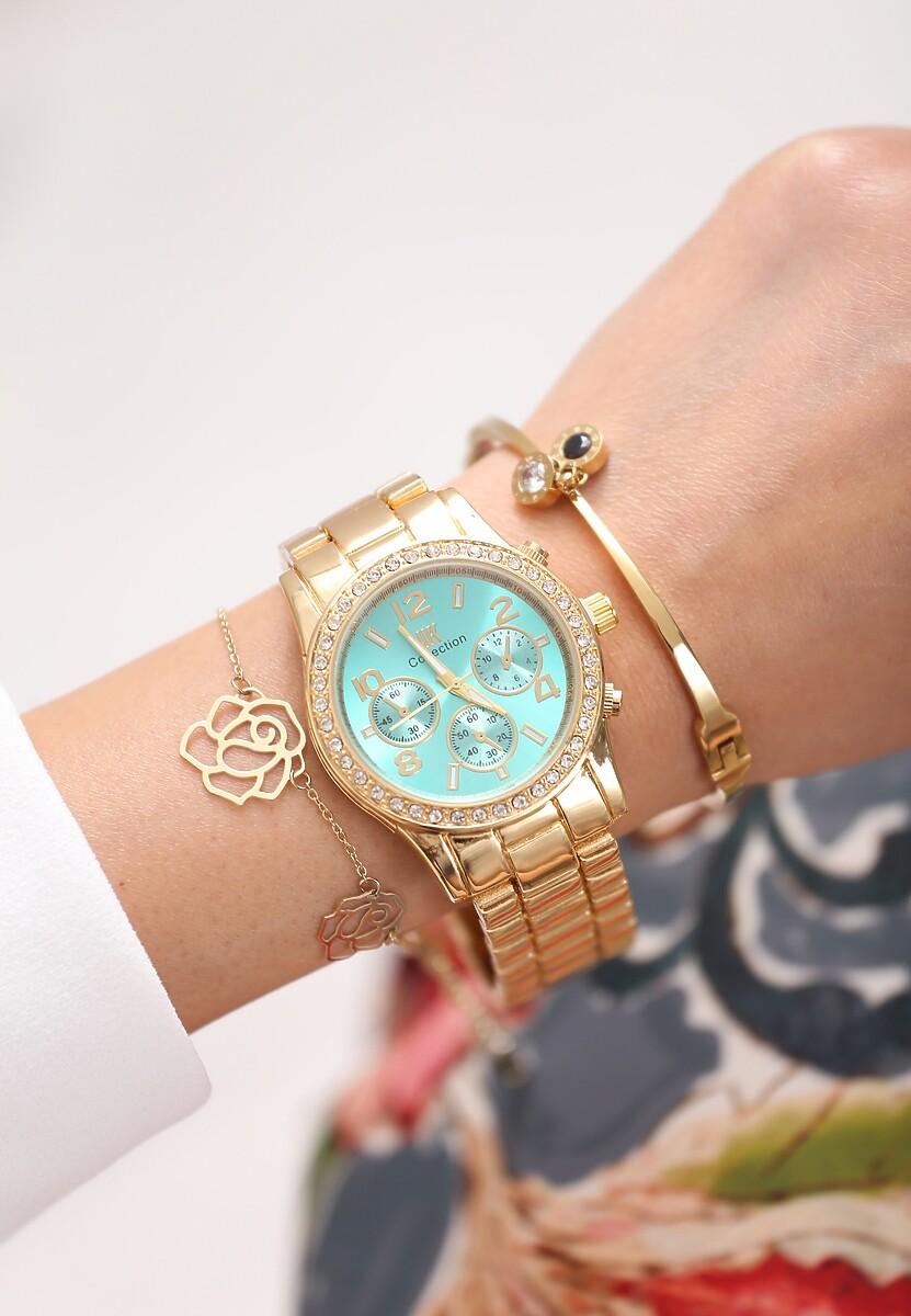Złoto-Miętowy Zegarek For Style