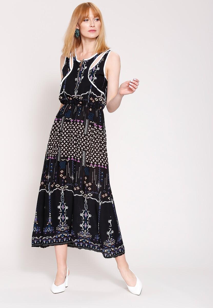 Czarna Sukienka Linear Elements