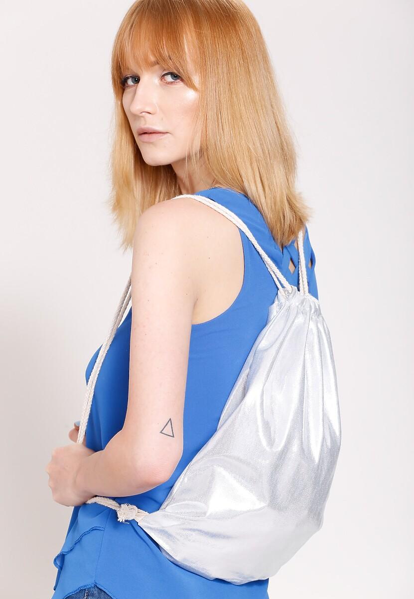 Srebrny Plecak Shiny Surface