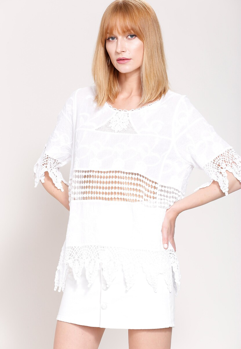 Biała Bluzka Flower Net