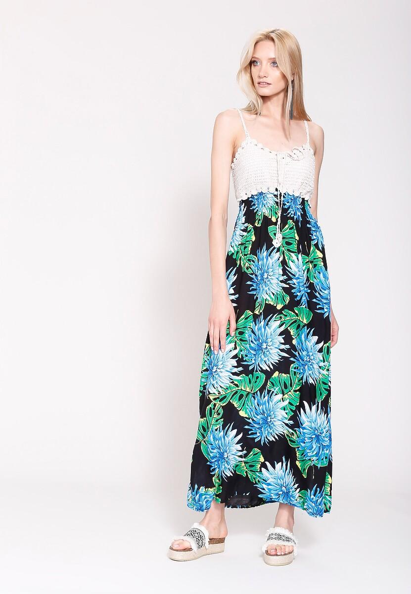 Czarno-Niebieska Sukienka Flowers Water