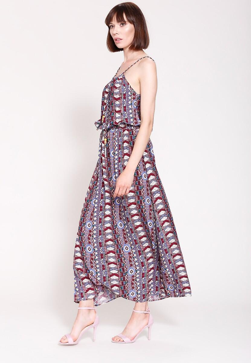 Bordowa Sukienka Velvet Look