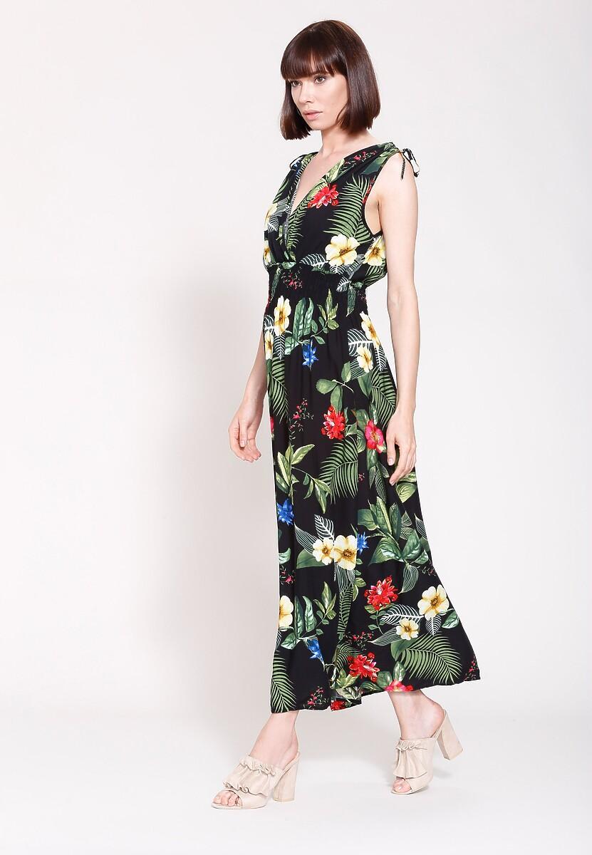Czarna Sukienka Exotic Flowers