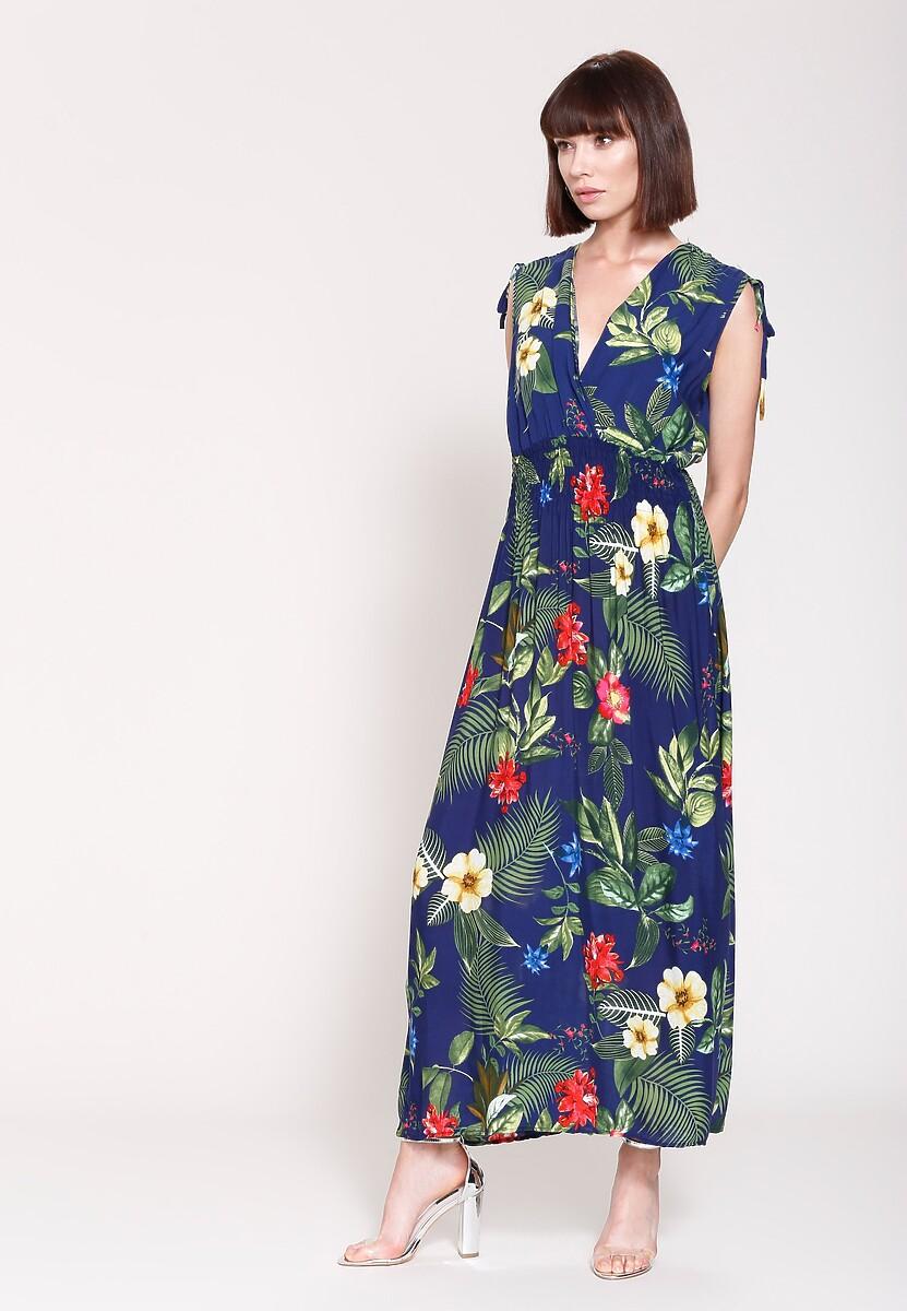 Granatowa Sukienka Exotic Flowers