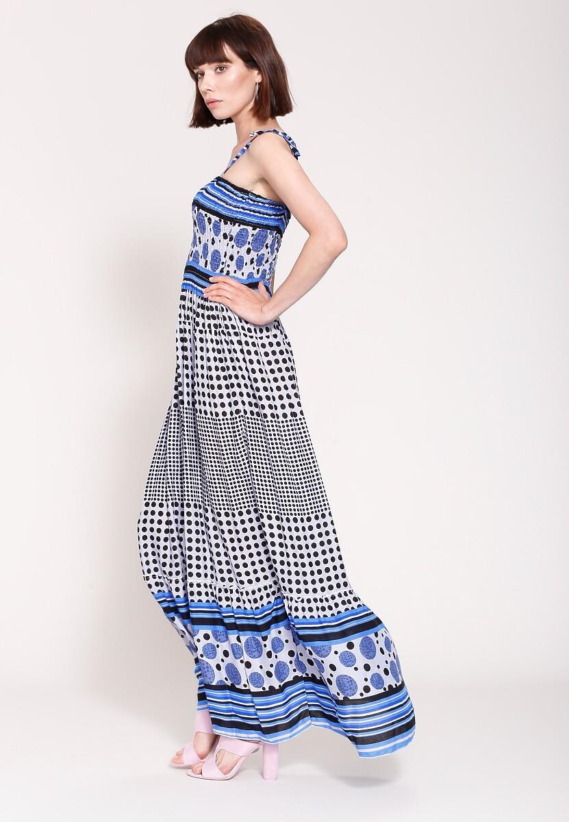 Niebieska Sukienka Retro Chic