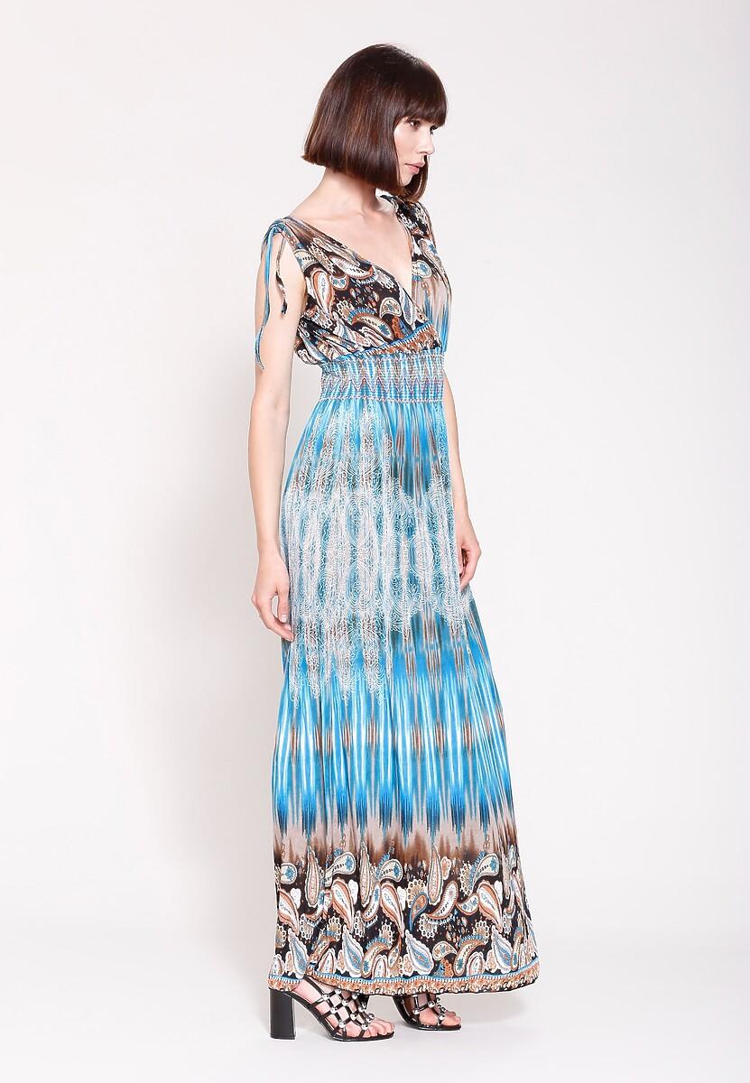 Niebieska Sukienka Buterflies Wings