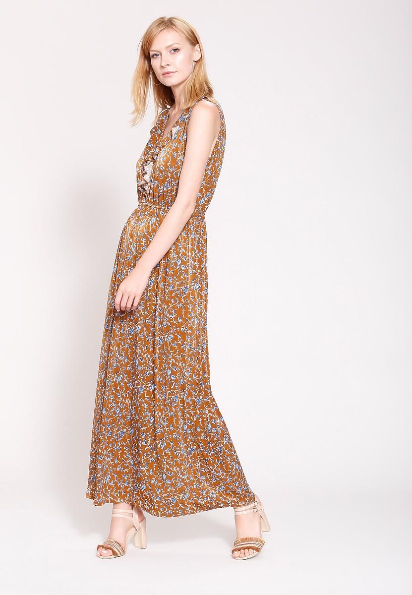 Brązowa Sukienka Retro Mood