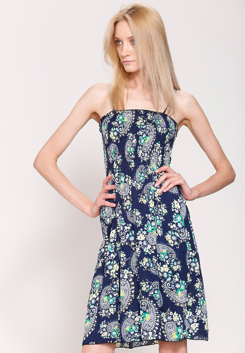 Granatowo-Zielona Sukienka Mystical