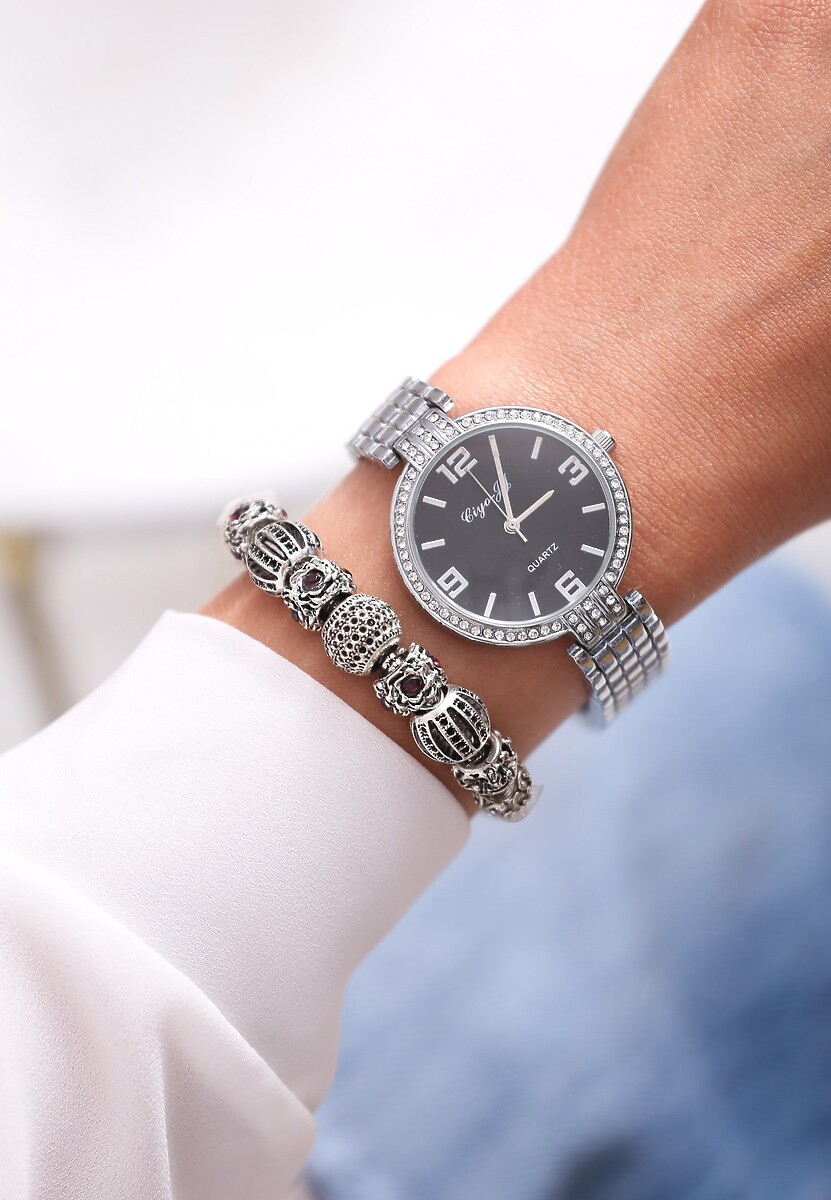 Czarno-Srebrny Zegarek Elegance Style