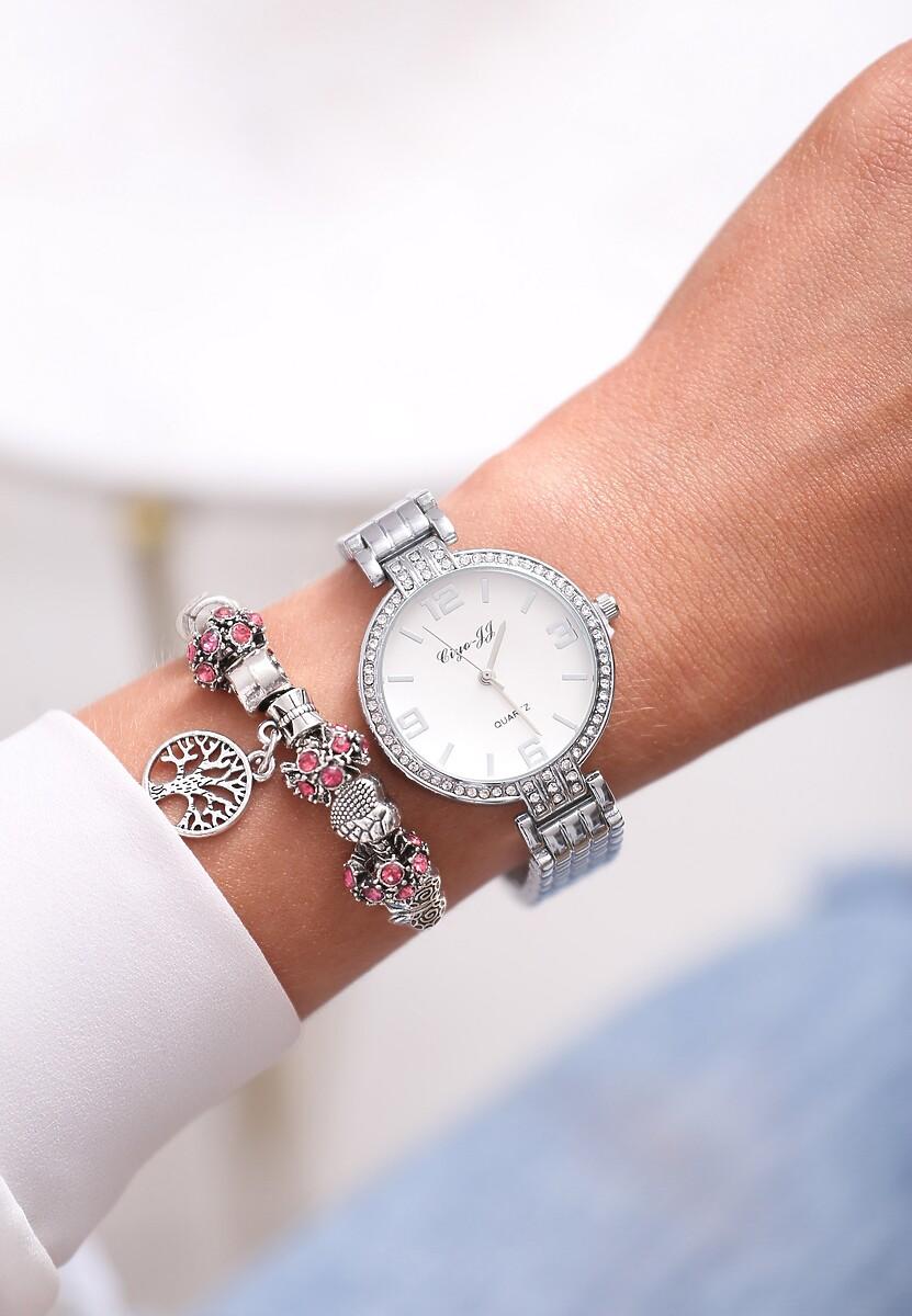 Biało-Srebrny Zegarek Elegance Style