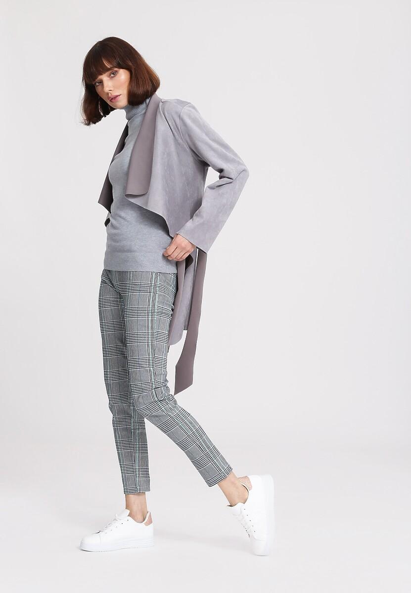 Szaro-Miętowe Spodnie Smart Casual