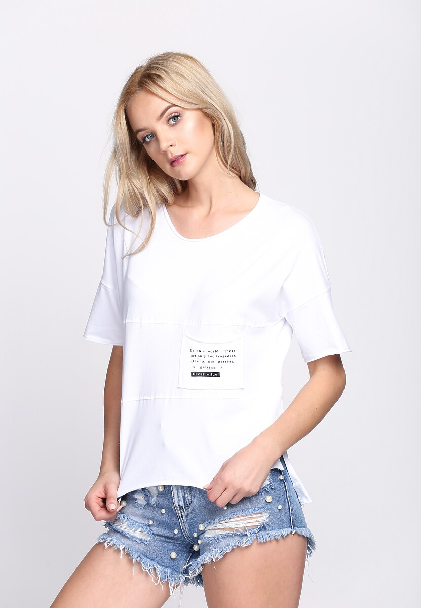 Biała Bluzka Poetic Pocket