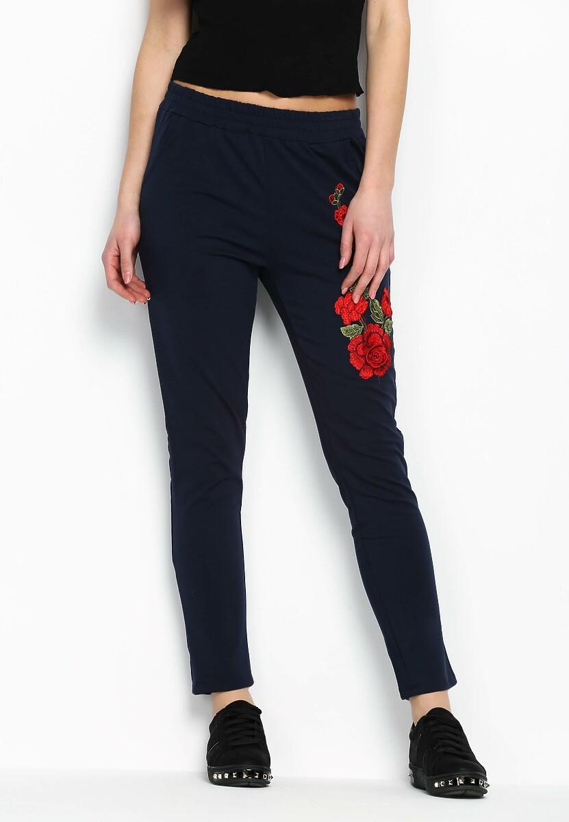 Granatowe Spodnie Dresowe Rosy Roses