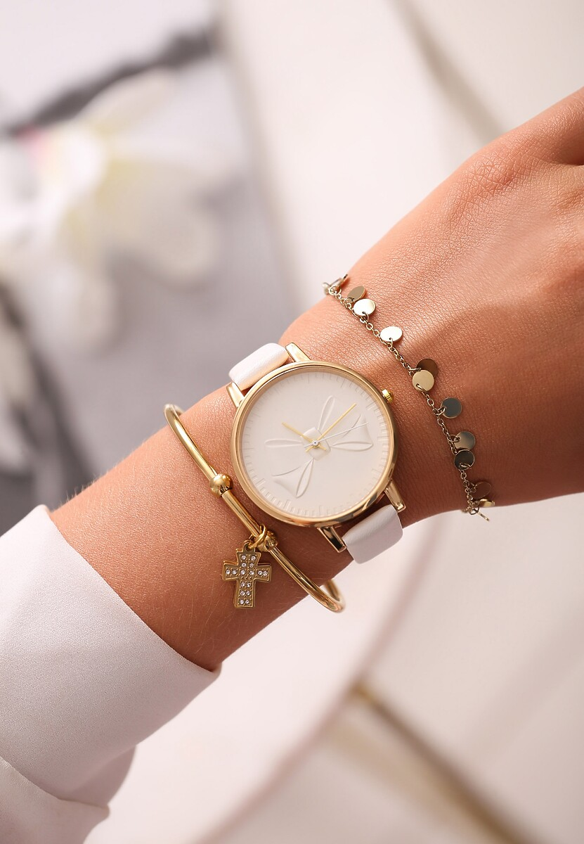 Biały Zegarek Head Of Time
