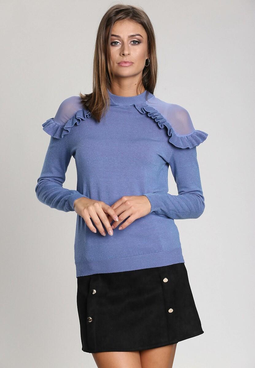 Niebieski Sweter Angels Fringes