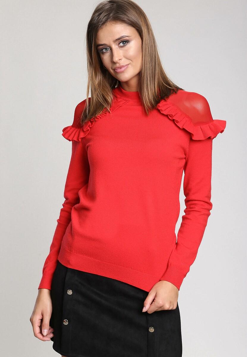 Czerwony Sweter Angels Fringes