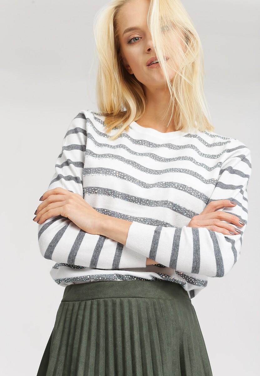 Biało-Szary Sweter Bright