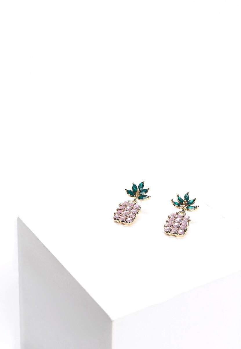 Różowe Kolczyki Crystal Pineapple