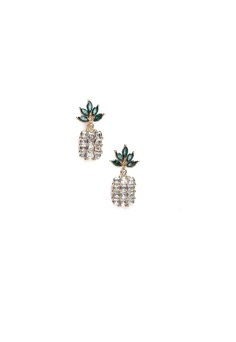 Białe Kolczyki Crystal Pineapple