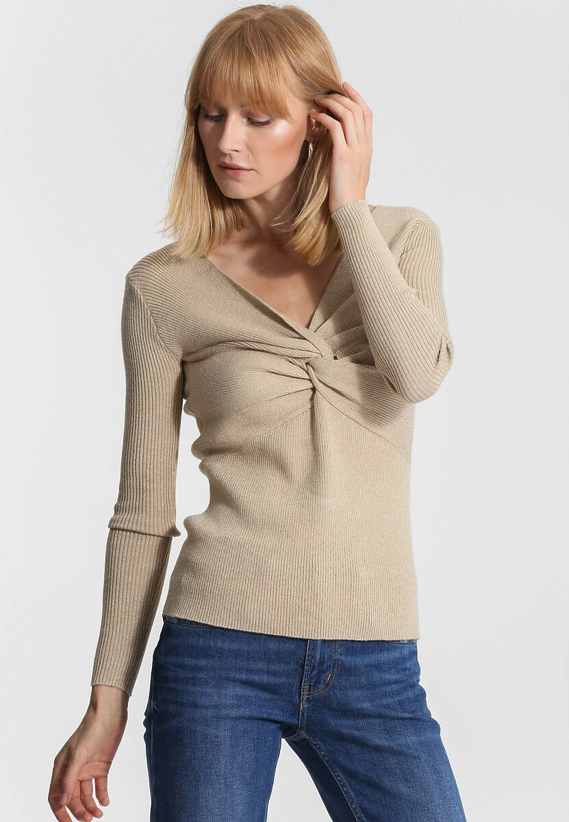Beżowy Sweter Far Far AWay