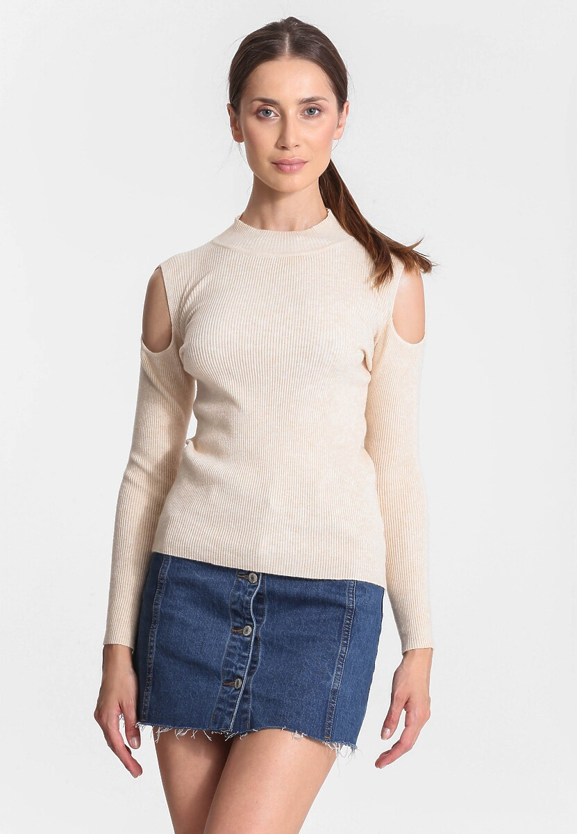 Beżowy Sweter Bare Shoulder