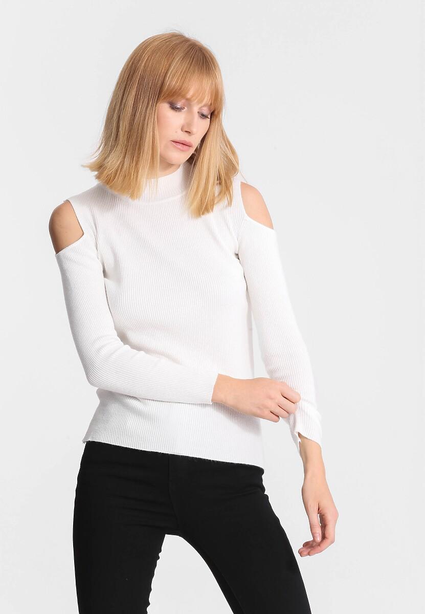 Biały Sweter Bare Shoulder
