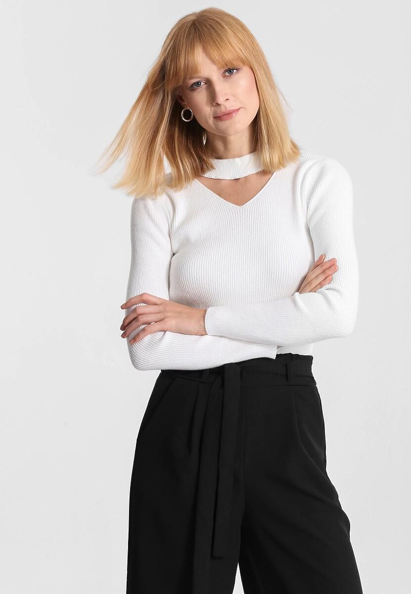 Biały Sweter Triangle Shape