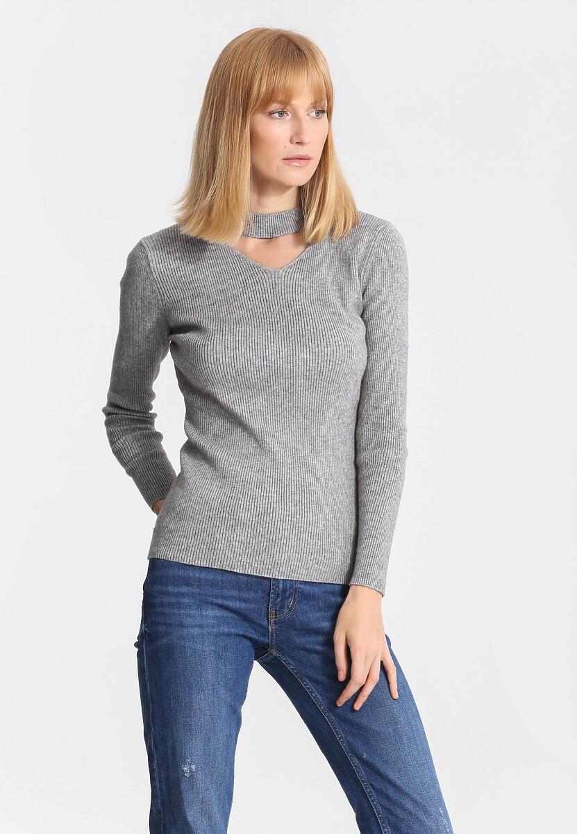 Szary Sweter Triangle Shape