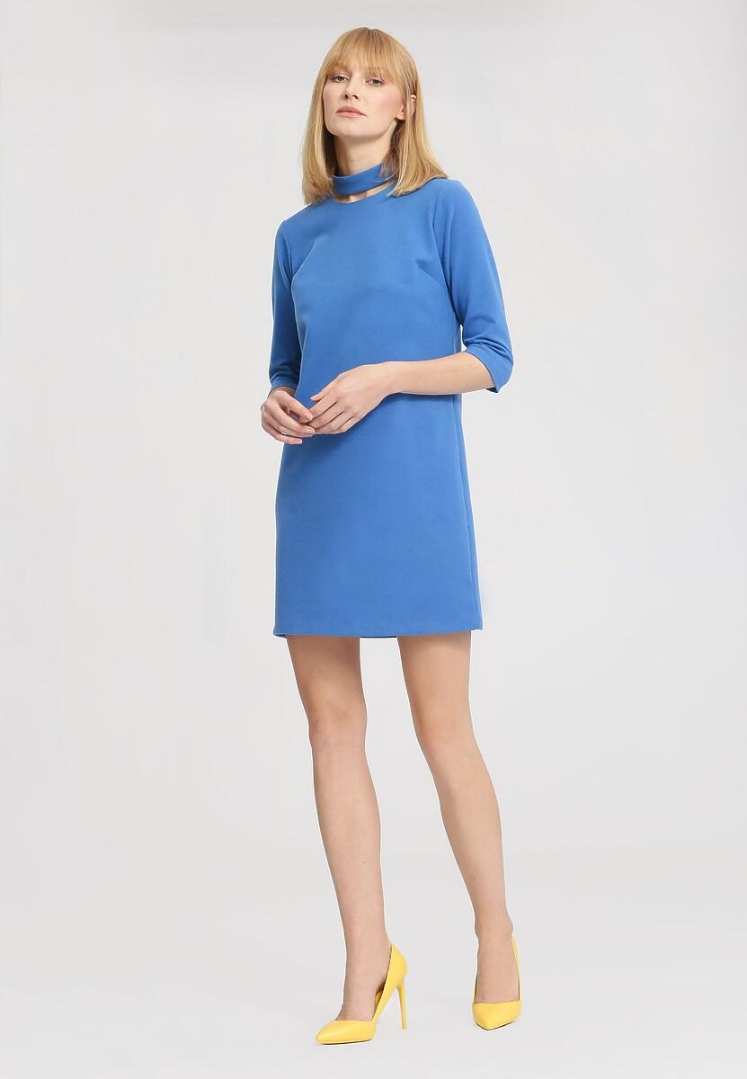 Niebieska Sukienka Afro