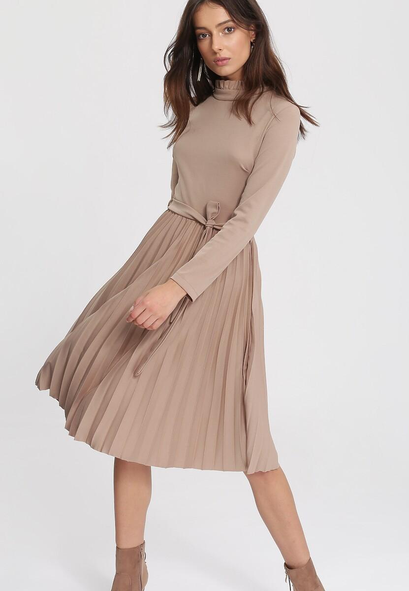 Ciemnobeżowa Sukienka For You