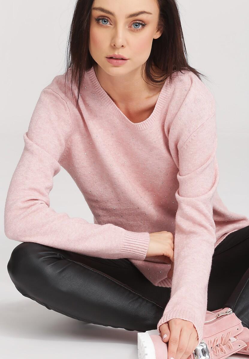 Jasnoróżowy Sweter Bossy